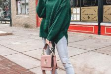 With jeans, pale pink bag and black flat boots