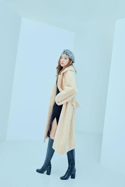 With midi dress, high boots and beige midi coat