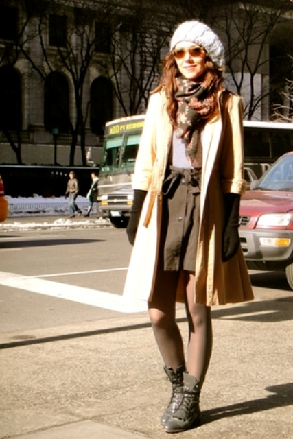 With mini skirt, shirt, printed scarf, long gloves, knitted beret and coat