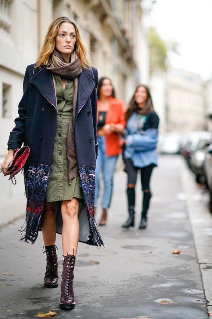 With olive green shirtdress, printed coat, red clutch and scarf