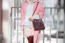 With pale pink coat, marsala over the knee boots, printed skirt and marsala bag