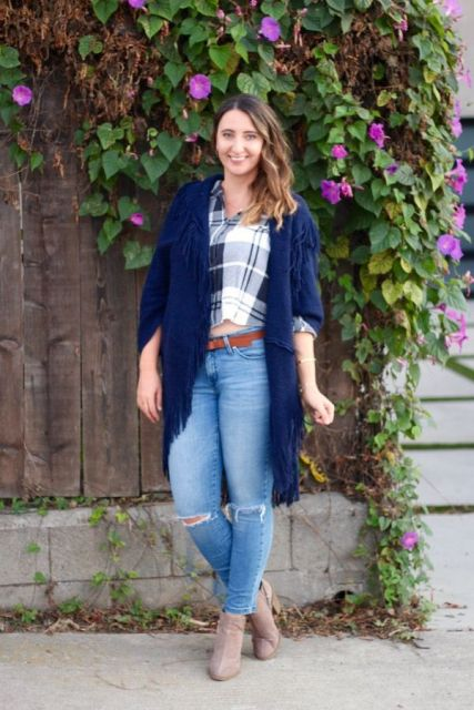 With plaid crop shirt, distressed skinny jeans, brown belt and suede ankle boots