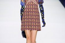 With printed blouse, mini sleeveless dress, brown velvet mid calf boots and bag
