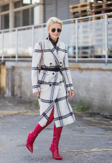 With printed dress and red over the knee boots