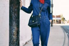 With printed scarf, gray beret, black crossbody bag and low heeled shoes