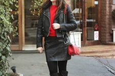 With red sweater, black leather jacket, black leather skirt, red bag and high boots