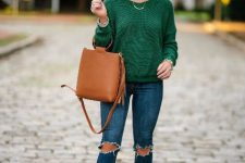 With skinny jeans, brown leather bag and leopard printed boots