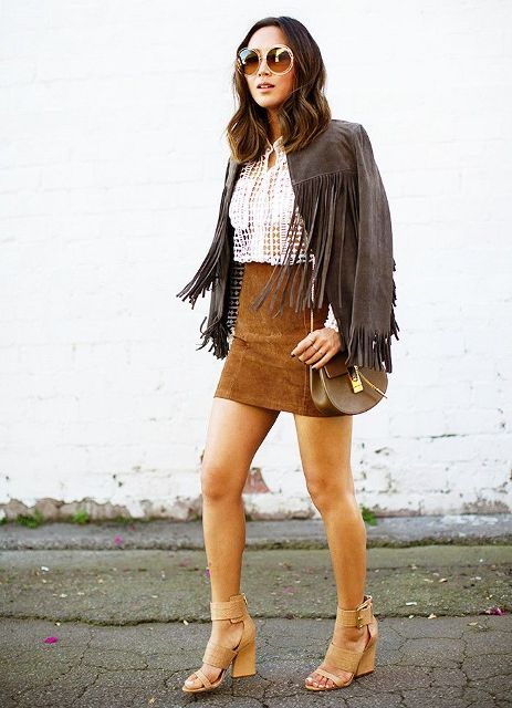 With white blouse, suede mini skirt, bag and beige shoes