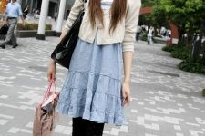 With white cardigan, blue dress, leggings, white shoes and black bag