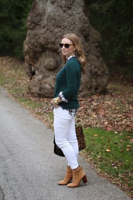 With white pants, checked shirt, leopard printed bag and brown suede ankle boots