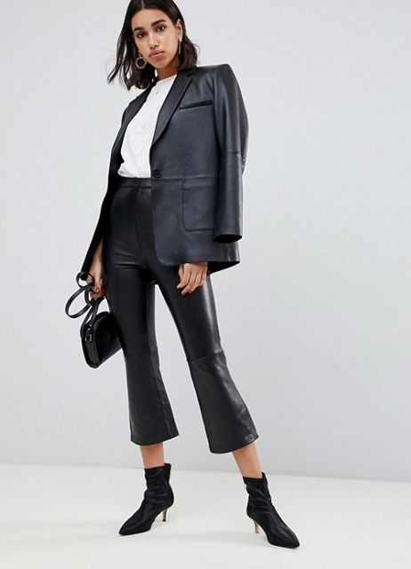 With white shirt, black leather blazer, mini bag and black low heeled boots