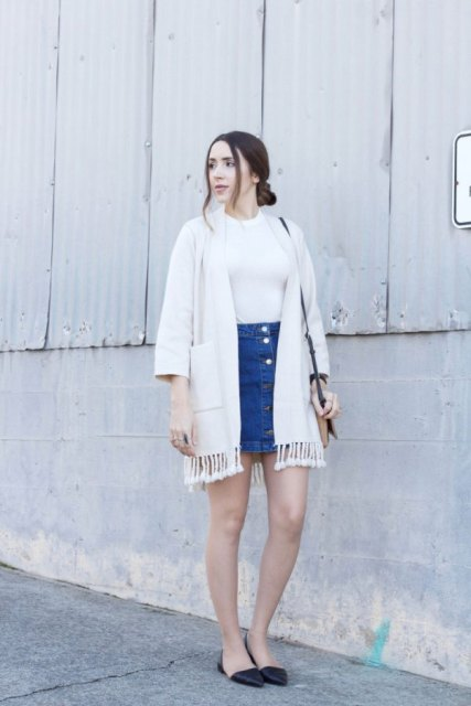 With white shirt, denim mini skirt, bag and flat shoes