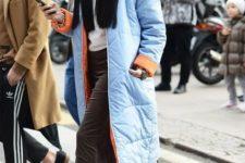 With white shirt, velvet midi skirt and light blue pumps