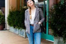 With white wrap shirt, checked blazer, distressed jeans, bag and white sneakers