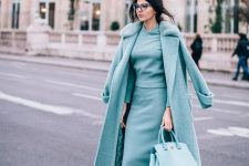 a beautiful total tiffany blue look with a hoodie, a midi skirt, shoes, a midi coat and a bag is wow