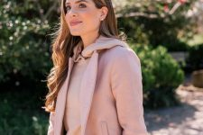 a blush cashmere hoodie, a blush cropped jacket, blue jeans and a pink bag for a girlish look on a cold day
