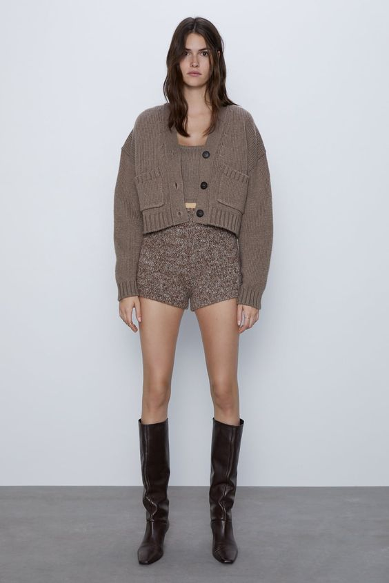 a brown cropped top, a matching cardigan with pockets, brown shorts will make up an ideal homewear look for winter