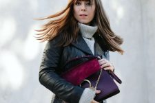 a cool winter look with a grey sweater, a black leather jacket, a burgundy tweed mini skirt, a color block bag