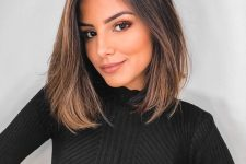 a dark long bob with pretty chestnut balayage is a pretty and very sexy idea to rock