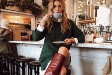 a gorgeous look with a white shirt, an emerald mini sweater dress and red tall boots is amazing