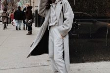a grey cashmere hoodie and joggers, a grey coat and white trainers for comfy and cozy everyday look