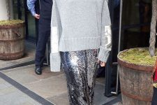 a grey overiszed sweater, a grey sequin midi skirt, ankle strap shoes for a stylish and chic look