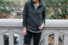 a grey zip sweater, a grey tee, black ripped skinnies, black boots for a cozy fall look