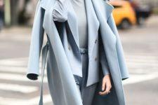a powder blue outfit with a pantsuit, a turtleneck, a midi coat is super elegant and super chic idea