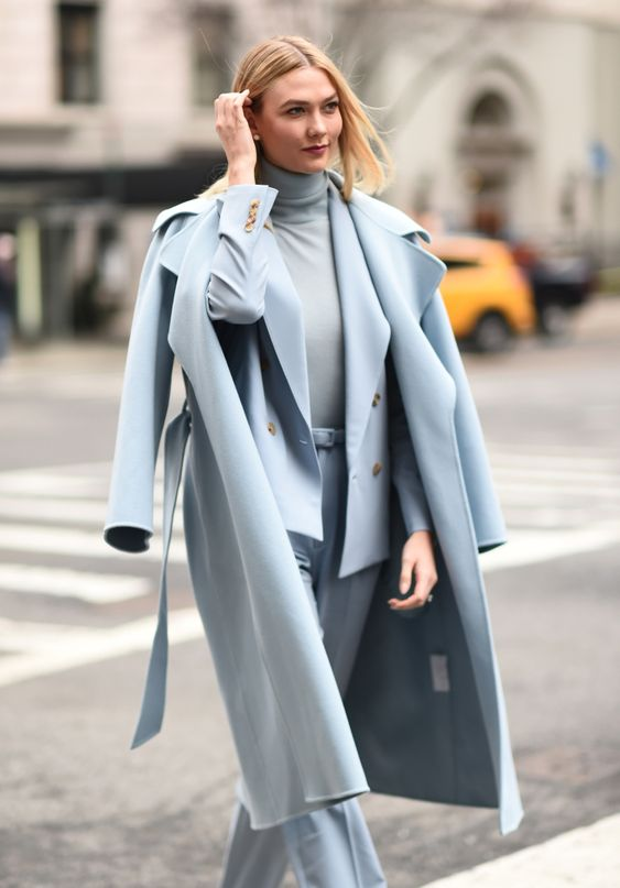 a powder blue outfit with a pantsuit, a turtleneck, a midi coat is super elegant and super chic idea