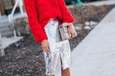 a red braided sweater, a silver sequin midi skirt with a slit, a grey bag and nude shoes for the holidays