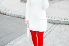 a retro look with a white sweater dress, red tights, white shoes, a red beret and statement earrings is cool