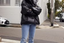 a simple and comfy look with blue jeans, black suede booties, a black leather puffer jacket – just add a sweater and go