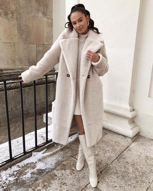a white mini sweater dress, white tall boots and a faux fur midi coat for a lovely and romantic look