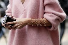 an oversized pink sweater, a white skirt and a pretty rose gold geometric bracelet for a chic girlish look