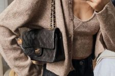 black high waisted jeans, a taupe knit top and a cropped cardigan, a black bag for this fall and winter