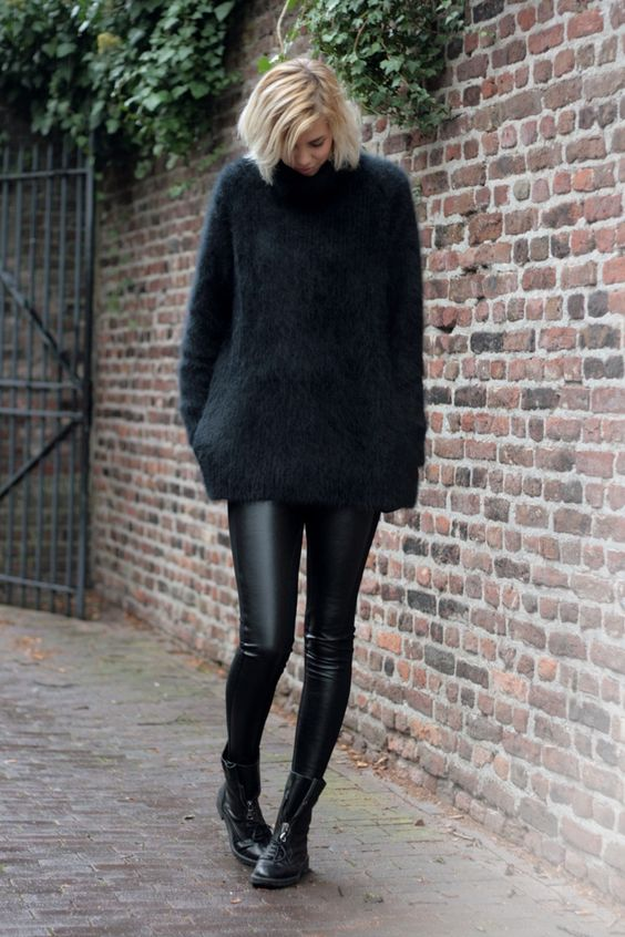 black leather leggings, an oversized mohair sweater and combat boots for a comfy and cozy winter look