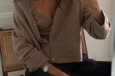 black trousers, a taupe knit top and a matching cropped cardigan, a black clutch for a chic and cozy outfit