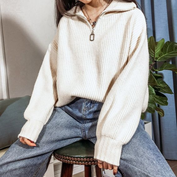 blue straight jeans, an ivory zip sweater and layered necklaces for a comfy and cozy everyday look