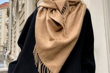 such a tan scarf with a bit of fringe is classics for fall and winter and will be always actual, its basic color will help it fit many looks