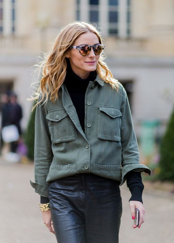 05 a black turtleneck, an olive green shirt, black leather pants for a layered winter outfit