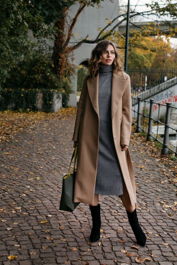 10 a grey midi sweater dress, a tan coat, black boots and a tote bag for a comfy work look