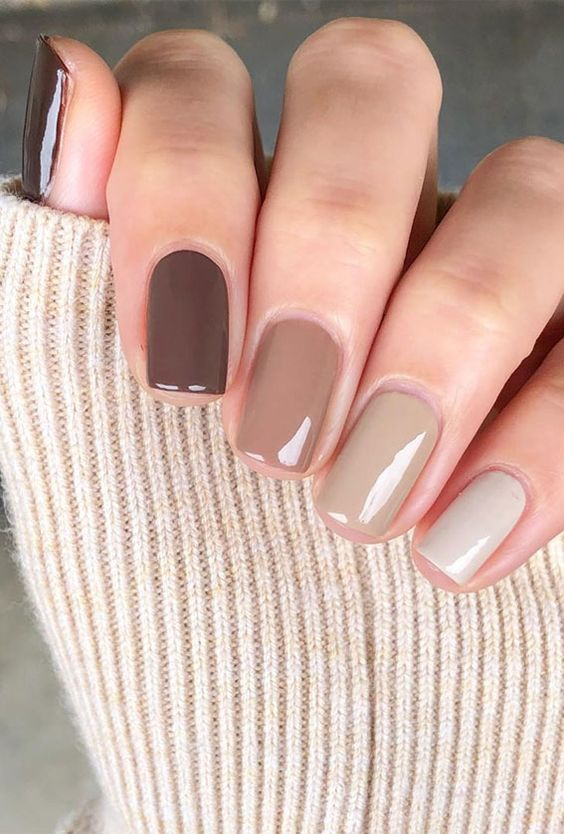 14 a monochromatic manicure in various fall shades will fit winter, too