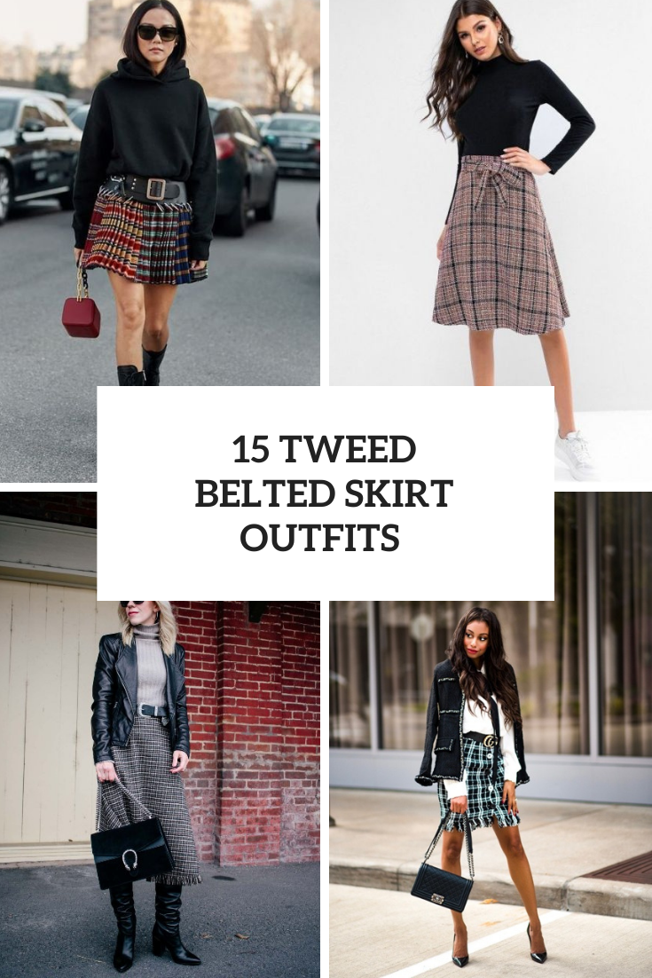 15 Outfits With Tweed Belted Skirts