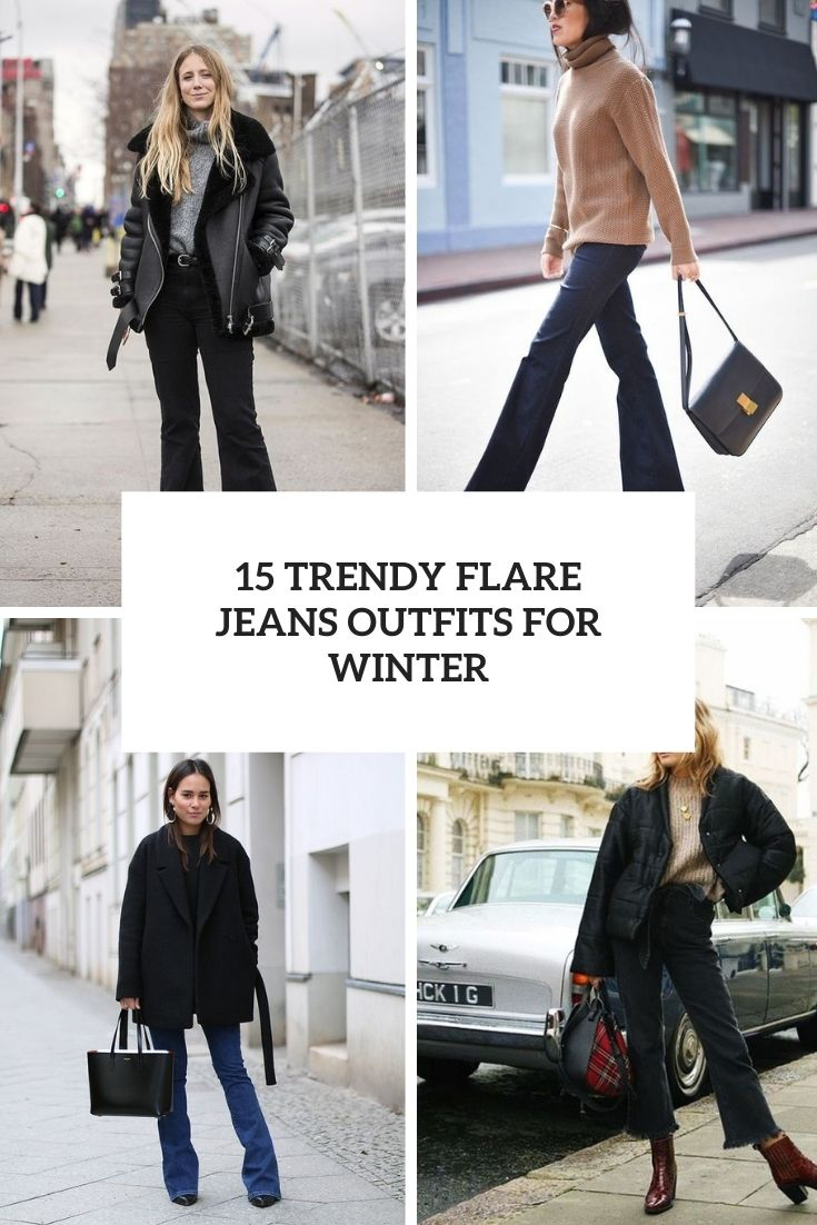trendy flare jeans outfits for winter cover