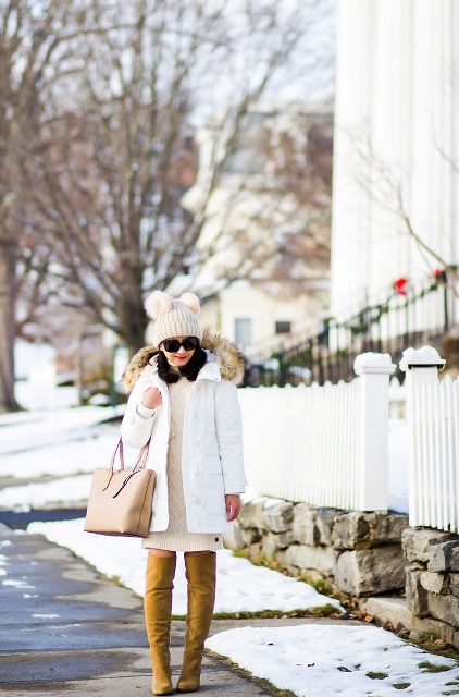 With beige sweater dress, white coat, beige tote bag and brown over the knee boots