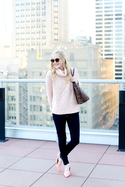 With black pants, pink shoes and printed tote bag
