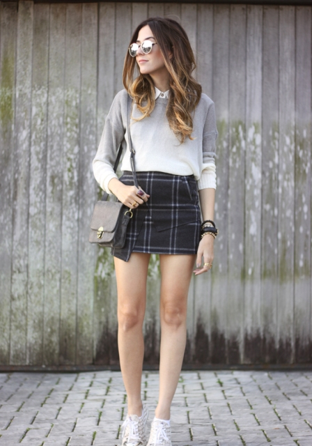 With checked mini skirt, gray bag and shoes