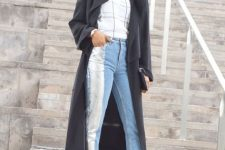 With checked shirt, silver and blue cuffed jeans, dark gray midi coat and clutch