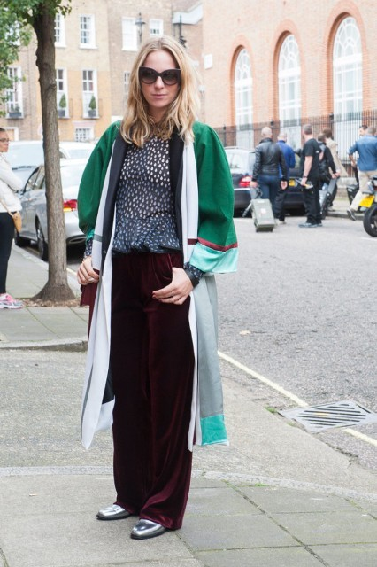 With color block cardigan, printed blouse, silver shoes and sunglasses