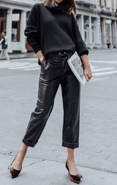 With dark gray sweater and brown velvet embellished shoes